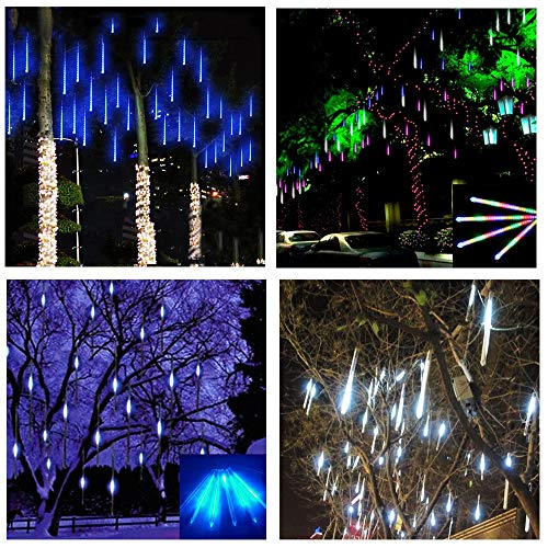String Lights 50cm 8 Tube Waterproof Holiday Meteor Shower Rain LED String Lights for Indoor Outdoor Gardens (Emitting Color : Changeable, Wattage : 50Cm)