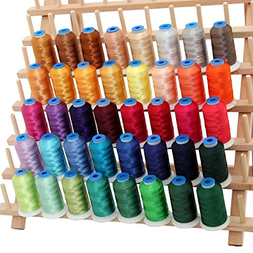 Threadart 40 Cone Rayon Embroidery Thread Set | Jewel Colors |1000m cones 40 wt | For Sewing Beautiful Decorative Stitches and Free Motion Machine Embroidery