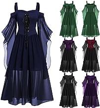Halloween Gothic Jurk Gothic Kleding Vrouwen Off Shoulder Mouw Lace Up Plus Size Chiffon Lange Jurken Renaissance Middelee...