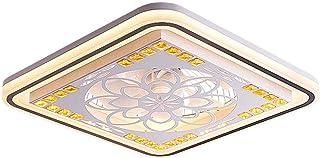 PPAMZ Cristal Ventilador de Techo con Lámpara, Creativo Cuadrado Ventilador Invisible LED Lámpara de Techo, Control Remoto Regulable, Ultra Silencioso Ventilador Lámpara72W para Dormitorio