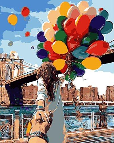 YEESAM ART Nouvelles Peinture au numero pour adulte enfants DIY Painting by Numbers num/éro Cadeaux de no/ël Becautiful Girl Belle Fille 40x50 cm