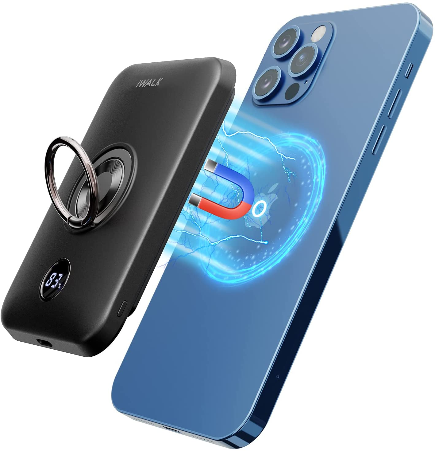 iWALK Magnetic Wireless Power Bank, 6000mAh Portable Charger with Finger Holder, Stronger Magnet Stick for Phone with Unique Mag-Suction Tech, Compatible with iPhone 12/12 Pro/12 Pro Max