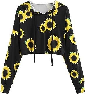 ROMWE Women's Long Sleeve Hooded Floral Print Crop Hoodie Sweatshirt