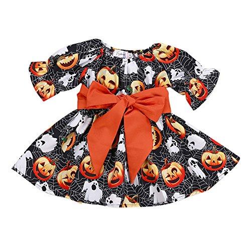 Honestyi BabyBekleidung Kleinkind Infant Baby Mädchen Kürbis Geist Print Kleider Halloween Kostüm Outfits (90,Schwarz)