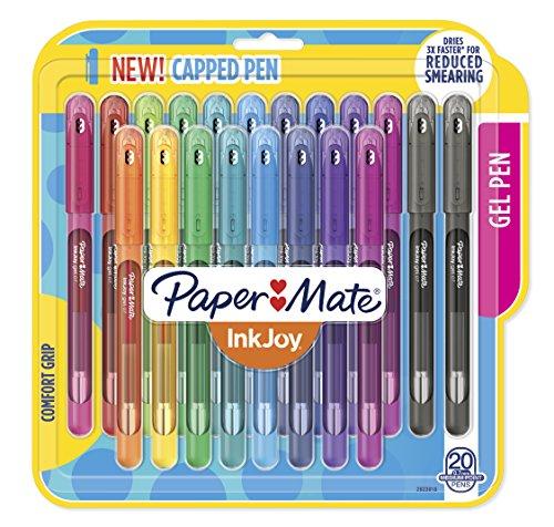 Paper Mate Canetas de gel InkJoy, ponta média (0,7 mm) com tampa, 20 unidades, cores sortidas (2023018)
