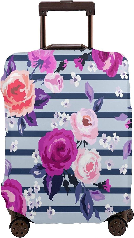 SSOIU Popular Floral Luggage New sales Cover Beautiful Pink Flowers Stripe Purple