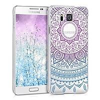 kwmobile 対応: Samsung Galaxy Alpha ケース - スマホカバー - 携帯 保護ケース インド太陽デザイン 青色/ダークピンク/透明 サムスン ギャラクシー アルファ
