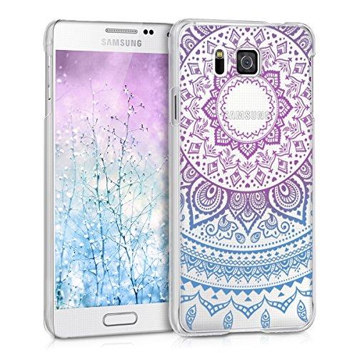 kwmobile Hülle kompatibel mit Samsung Galaxy Alpha - Handyhülle - Handy Hülle Indische Sonne Blau Pink Transparent