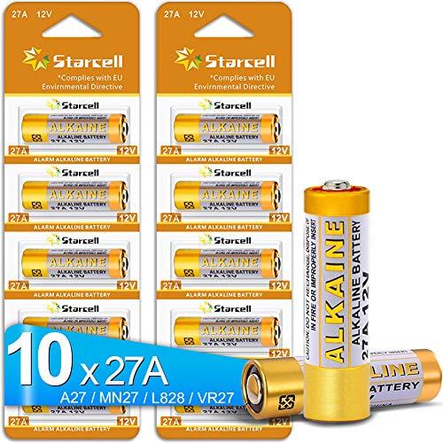 Starcell Lot de 10 piles alcalines 27 A 12 V A27 VR27 L828 12 V haute capacité 25 mAh