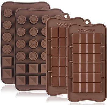 FineGood, 4 stampi in silicone per cioccolato, antiaderenti per proteine ed energia, per cubetti di ghiaccio, caramelle e dolci