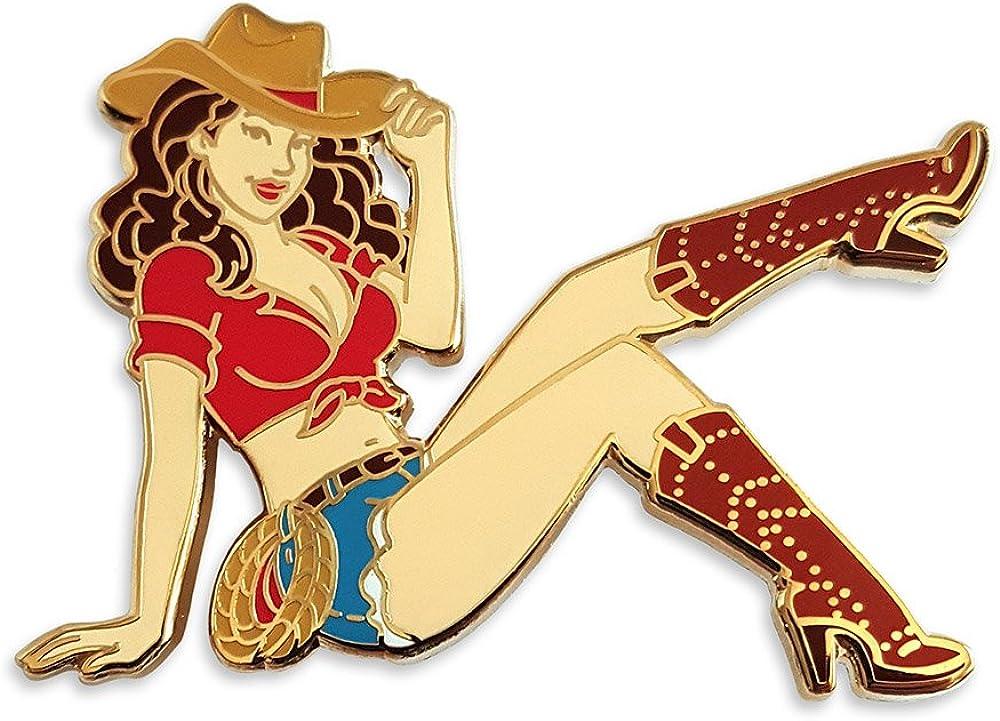 Pinsanity Cowgirl Pin Up Enamel Lapel Pin