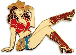 Cowgirl Pin Up Enamel Lapel Pin