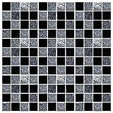 LxwSin vinilo para azulejos en blanco y negro, azulejo de mosaico blanco negro pegatinas, 30 piezas autoadhesivas de mármol efecto piedra mosaico pegatinas para azulejos para baño cocina, impermeable