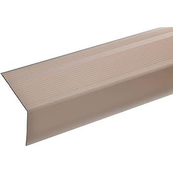 acerto 51039 Perfil angular de escalera de aluminio - 100cm 55x69mm bronce claro * Antideslizante * Robusto * Fácil instalación | Perfil de peldaño de escalera perfil de peldaño de aluminio: Amazon.es: Bricolaje y herramientas