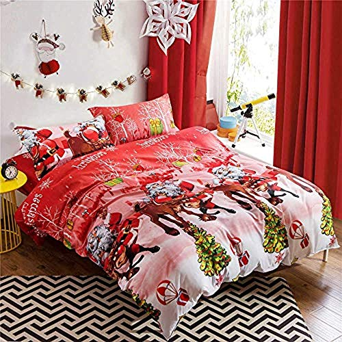 RONGXIE Bed Linen Set Duvet Cover Set For Teenager Boys With Pillowcase Creative Red Santa Claus Elk Christmas - Double (200 X 200 Cm) - Medium Double Bed, 3 Piece Set, 1 Duvet Cover + 2 Pillowcases