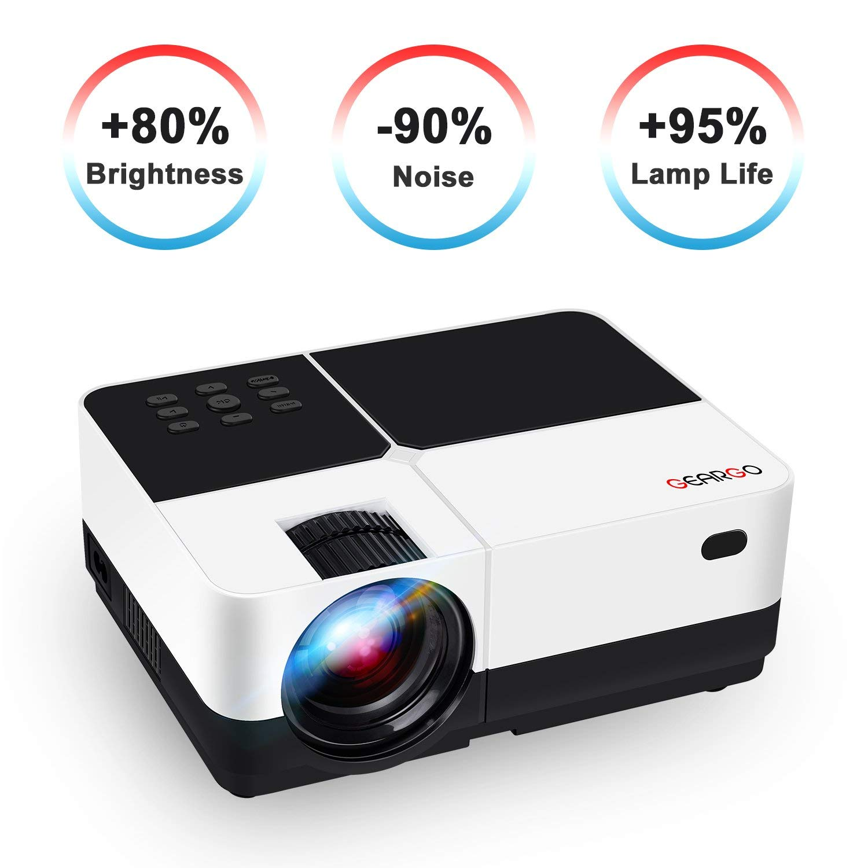 GEARGO Proyector Portátil Video Proyector 1080P Full HD, Vida útil ...
