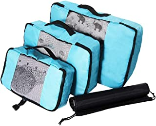 Waterproof Travel Storage Bags Luggage Organizer Pouch Packing Cube Clothing Sorting Packages Pack of 4pcs Light Blue