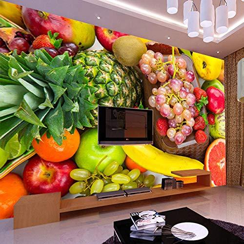 3D Wandbild Brauch Foto Tapete Küche Obst Shop Restaurant Hintergrund Wanddekoration Obst Gemüse Wandbild Hintergrundbilder,200 * 140Cm