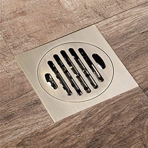 DYR Bodenablauf aus Messing, 10 x 10 cm Geruchsneutraler Bodenablauf Desodorierungsart Spezieller Bodenablauf für Familienbadezimmer, GreenBronze