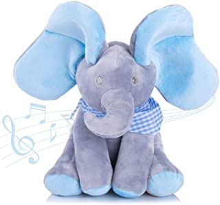 Aideal Peek A Boo Singing Elephant Plush Soft Toys Interactive Music Toys Baby Kids Toddlers Doll Gift