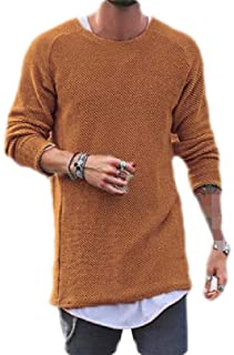 Macondoo Men Winter Knit Round Neck Long-Sleeve Pullover Sweaters