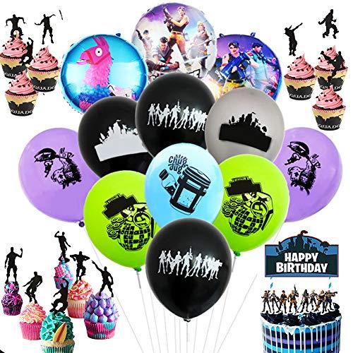 Besime Kit di Forniture per Feste di Compleanno per Gli Appassionati di Giochi Decorativi per Party A Tema Giochi–Sono Inclusi Palloncini, Striscione, Carta Torta, Luci per Dita, Adesivi