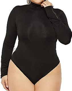 Enggras Women's Turtleneck Solid Color Plus Size Stretchy Long Sleeve Bodysuit Thong Tops Romper Leotard