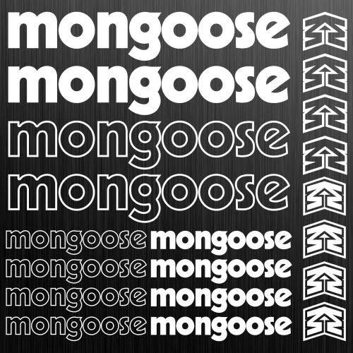 myrockshirt Mongoose Aufkleber Sticker Fahrrad Bike MTB BMX Road 20 Stücke ca.30cm Aufkleber Autoaufkleber Sticker Decal ohne Hintergrund UV&Waschanlagenfest