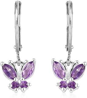 925 Sterling Silver Butterfly Leverback Drop Dangle Earrings for Women Jewelry (Iolite, Citrine/Rhodolite/Peridot/Amethyst...