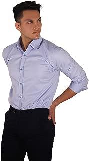 The Modern Darzi Men's Slim Fit Formal Dobby Full Sleeves Shirt (S-XXL) (Light Blue)