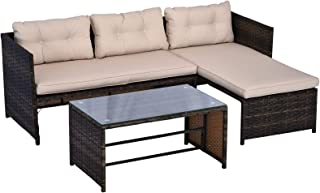 Outsunny 3-Piece Wicker Rattan Patio Set, Includes Sofa, Chaise & Coffee Table, Great for Poolside or Porch Lounging, Brown