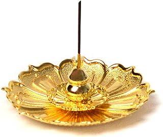 HOKPA Lotus Incense Burner Holder, Coil Censer for Sticks Cone Home Fragrance Accessories (1PC Gold)