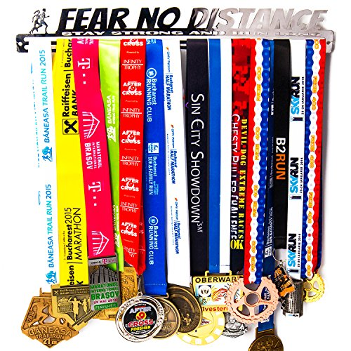 Medal Display + Fear No Distance + Medal Display Rack for 30+ Medals + for Marathon, Running, Race, Sports Medals - Silver