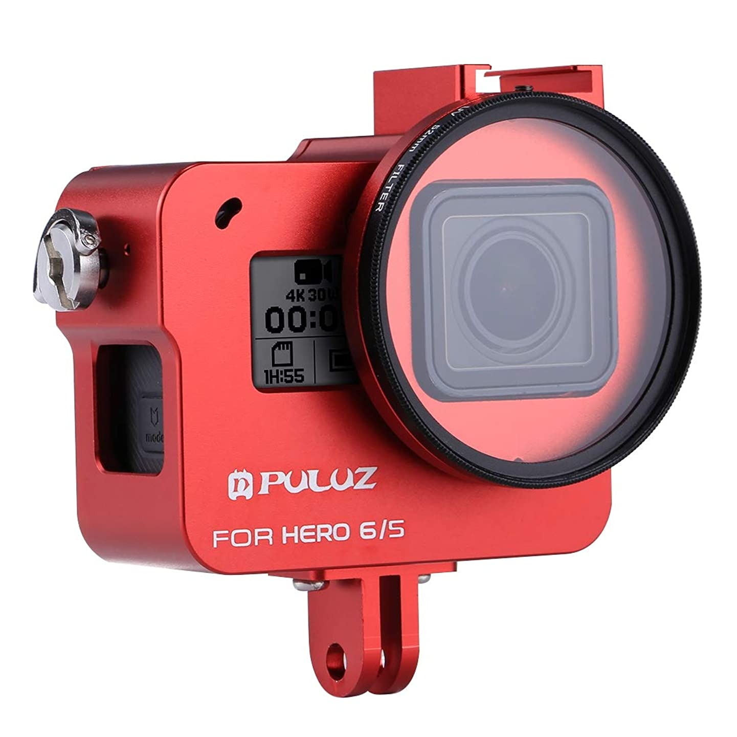 XINGRUI Boutique Accessories PULUZ Housing Shell CNC Aluminum Alloy Protective Cage with Insurance Frame & 52mm UV Lens for GoPro Hero(2018) /7 Black /6/5(Black) XINGRUI (Color : Red)