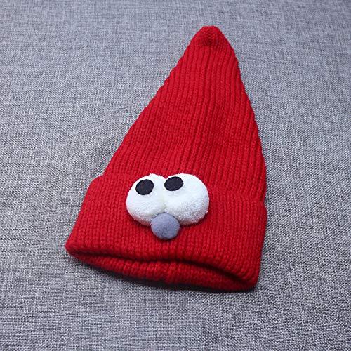 geiqianjiumai New Big-Eyed Kinder Strickmütze Baby warme Mütze groß rot 44-50cm