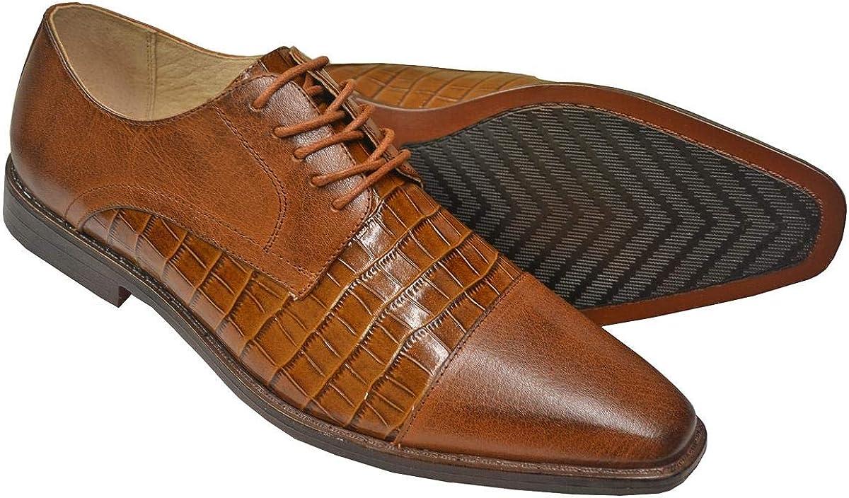 Giorgio Venturi Men's Genuine Leather Alligator Print Oxford Dress Shoes 2524