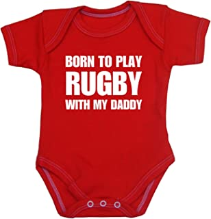 "Babyprem Baby Body Strampler ""Born to Play Rugby with My Daddy"" Kleidung 50-80cm"