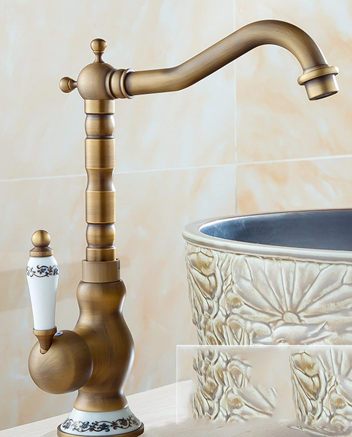 AWXJX European style retro style copper kitchen sink single hole double-tap water