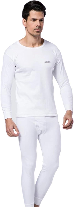 Men's Fashion Underwear Sets with Printed Cotton Round Neck Design-White