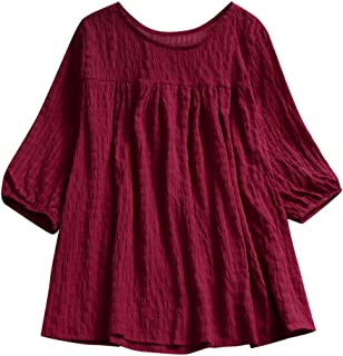 Aniywn Women's Pleated Baggy Tops Cute Flare Half Sleeve Solid Color Ladies Casual Tunic T-Shirt Blouse