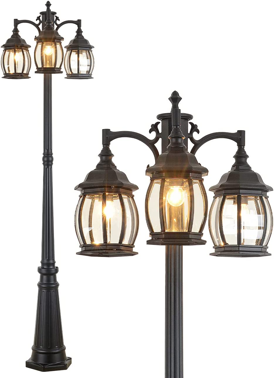 CMRCOZIRA Vintage Courier shipping free shipping Outdoor Post Light Max 44% OFF 3-Headed IP65 Wat Lamp