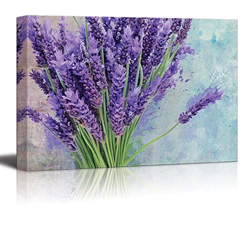 wall26 Bouquet of Purple Flowers Resting on a Watercolored Background - Canvas Art Home Decor - 24x36 inches