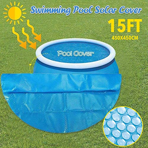 Swimming Pool Cover,Bâche De Piscine Rectangulaire,Solar Cover for 8/10/12/15 Ft Diameter Easy Set and Frame Pools Round Pool Cover Protector Foot Above Ground Blue Protection Swimming (10ft)