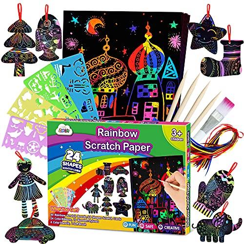 ZMLM Scratch Paper Art Set for Kids Christmas Gift - Rainbow Magic Scratch Off...