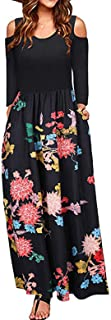 Cherfly Women' Long Sleeve Floral Maxi Dresses Cold Shoulder High Waist Dress with Pocket(Black and Red,L)