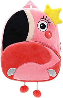 FLORICA Toddler Kids Backpacks Cartoon Cute Animal Plush Backpack Toddler Mini School Bag for Little Girls Boys Kids (Flamingo)