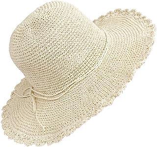 Sombrero de Paja para Mujer Plegable Bohemia Verano Sun Floppy Mujer Sombrero de la Playa del Borde Suave Transpirable Grande Ancho Cap para Viajes Vacaciones Beige