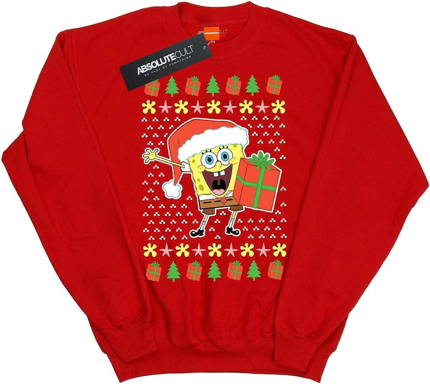 Absolute Cult Spongebob Squarepants Girls Ugly Christmas Sweatshirt
