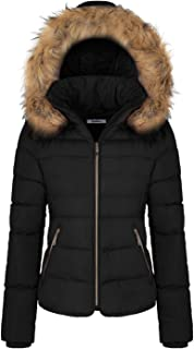 Women's Winter Quilted Puffer Short Coat Jacket with Removable Faux Fur Hood and Zipper