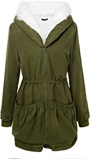 2420edbfb9d20 Aofur Womens Hooded Faux Fur Lined Warm Coats Parkas Anoraks Outwear Winter  Long Jackets
